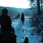 À cheval dans la Montagne Noire en hiver
